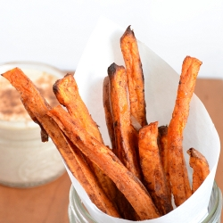 Thumbnail image for Sweet Potato Fries with Cinnamon Yogurt Dip