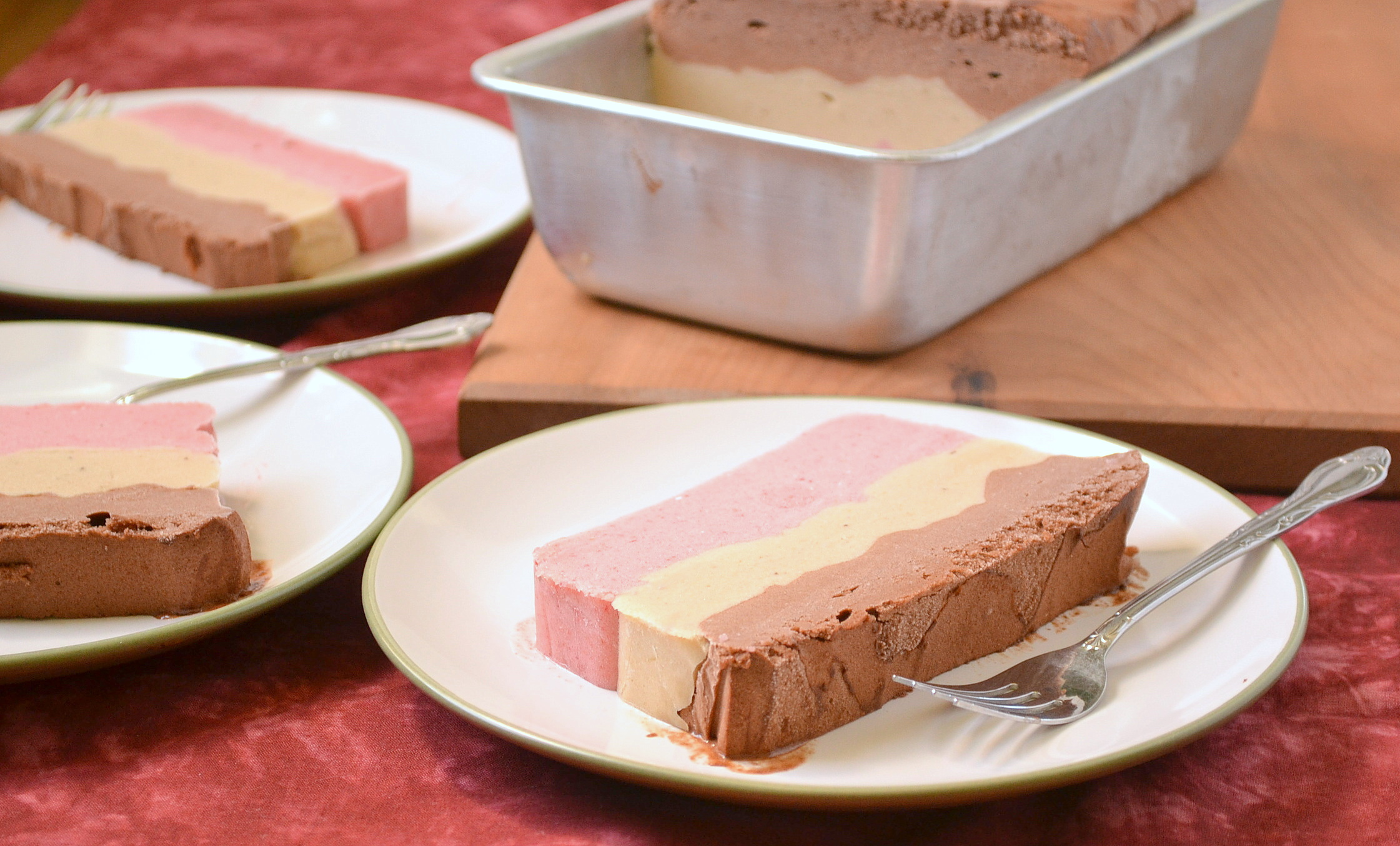 Vegan Layered Neapolitan Ice Cream Cake