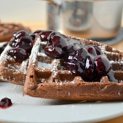Thumbnail image for Whole Wheat Chocolate Cherry Waffles