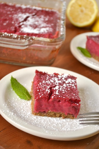 Whole Grain, Honey Sweetened Raspberry Lemonade Bars