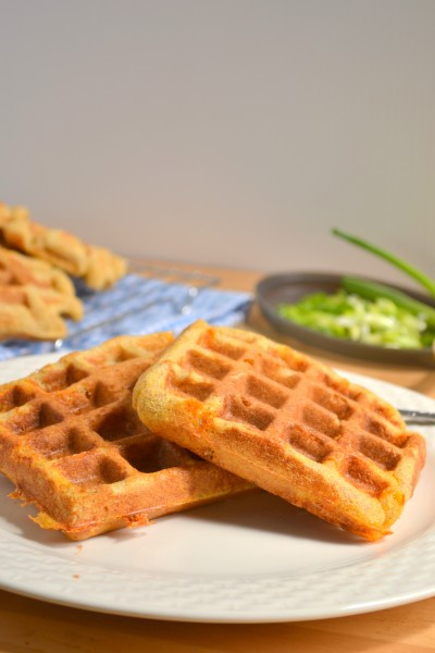 Whole Grain Savory Cheddar Cornmeal Waffles