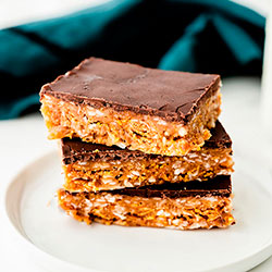 Thumbnail image for Peanut Butter Crunch Bars (gluten-free, vegan options)