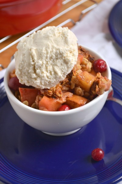 Honey Ginger Cranberry Apple Crisp