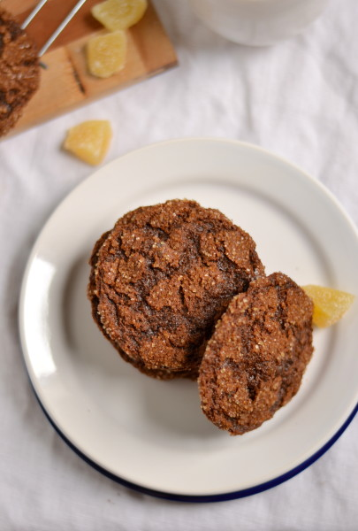 100% Whole Wheat Chewy Triple Ginger Cookies