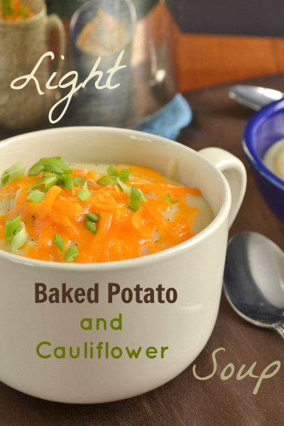 Light Baked Potato and Cauliflower Soup