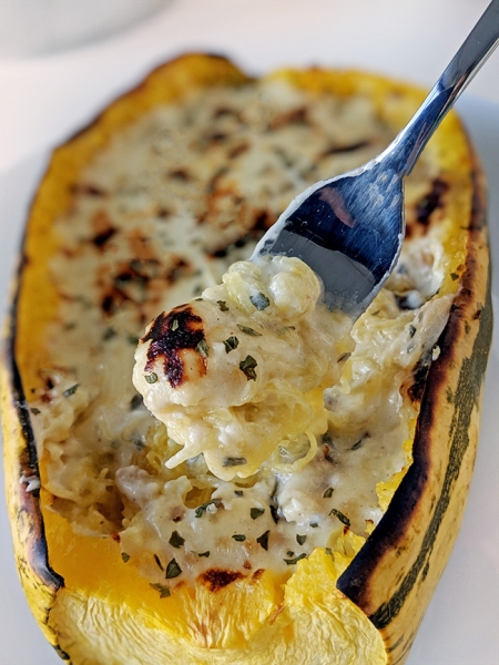 Spaghetti Squash Alfredo (gluten-free, grain-free options and lower-carb)