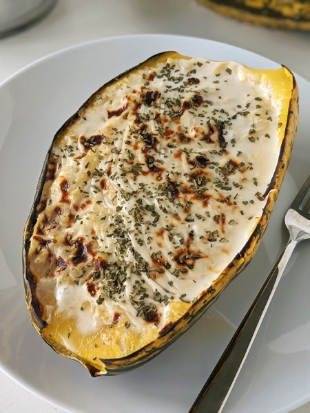 Easy Spaghetti Squash Alfredo (gluten-free and grain-free options)