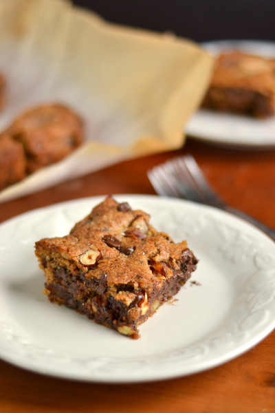 Whole Wheat and Vegan Hazelnut, Chocolate Chip and Date Cookie Bars