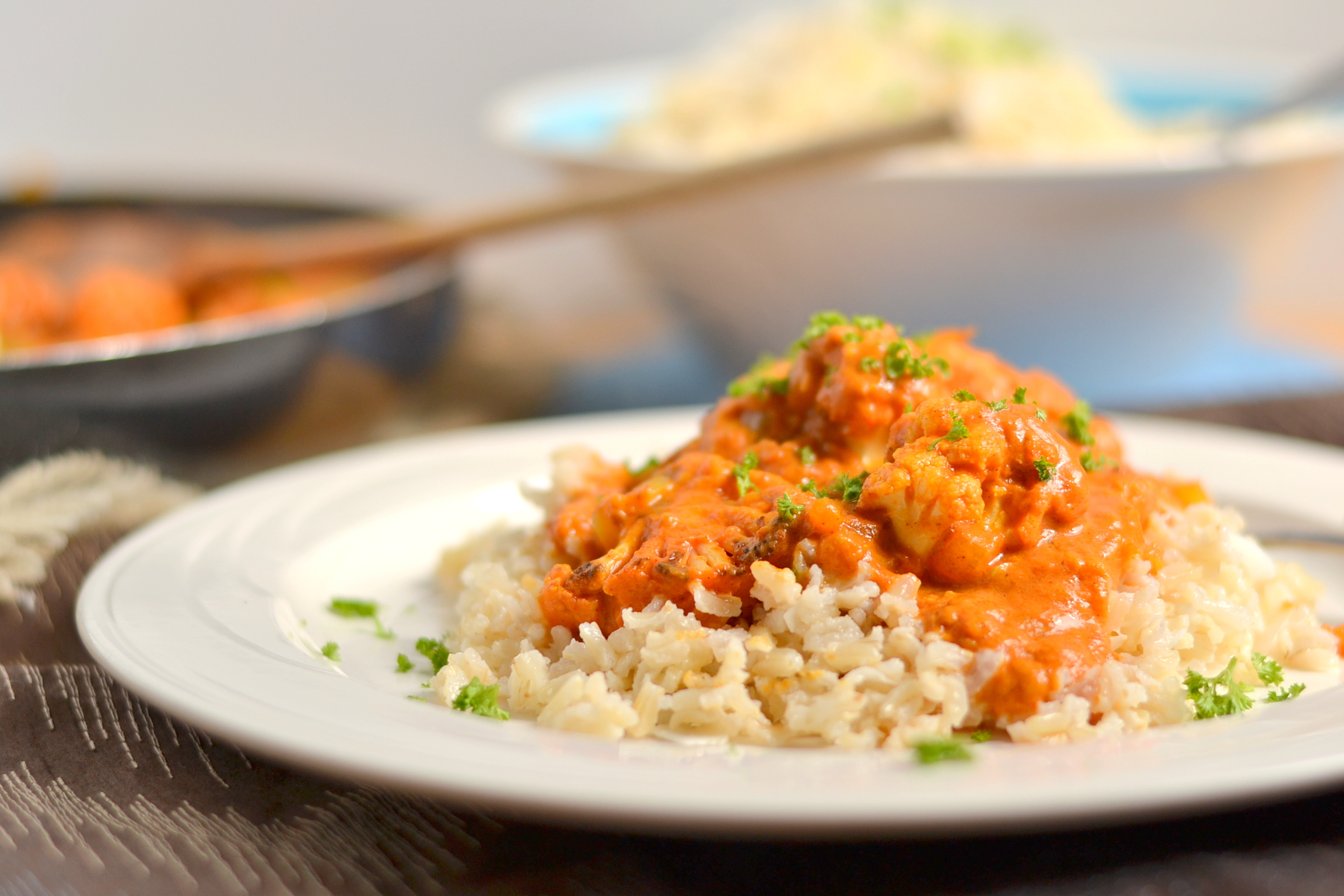 """Vegan Indian """"Butter"""" Cauliflower with Coconut Brown Rice"""