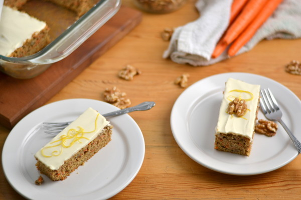 Whole Wheat Carrot Cake with Skinny Cream Cheese Frosting