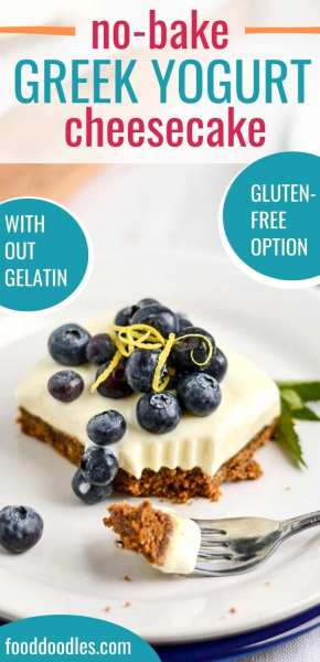 The perfect Greek yogurt cheesecake is no-bake and doesn't use gelatin. This recipe is lightened up with Greek yogurt, but you'll never be able to tell! It's just as delicious as the original version. Can easily be made gluten-free.