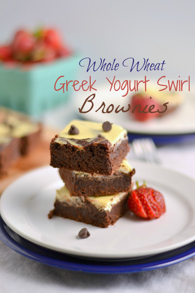 Whole Wheat Greek Yogurt Swirl Brownies