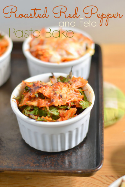 Roasted Red Pepper and Feta Pasta Bake