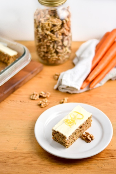 Whole Wheat Carrot Cake with Light Honey Greek Yogurt Cream Cheese Frosting
