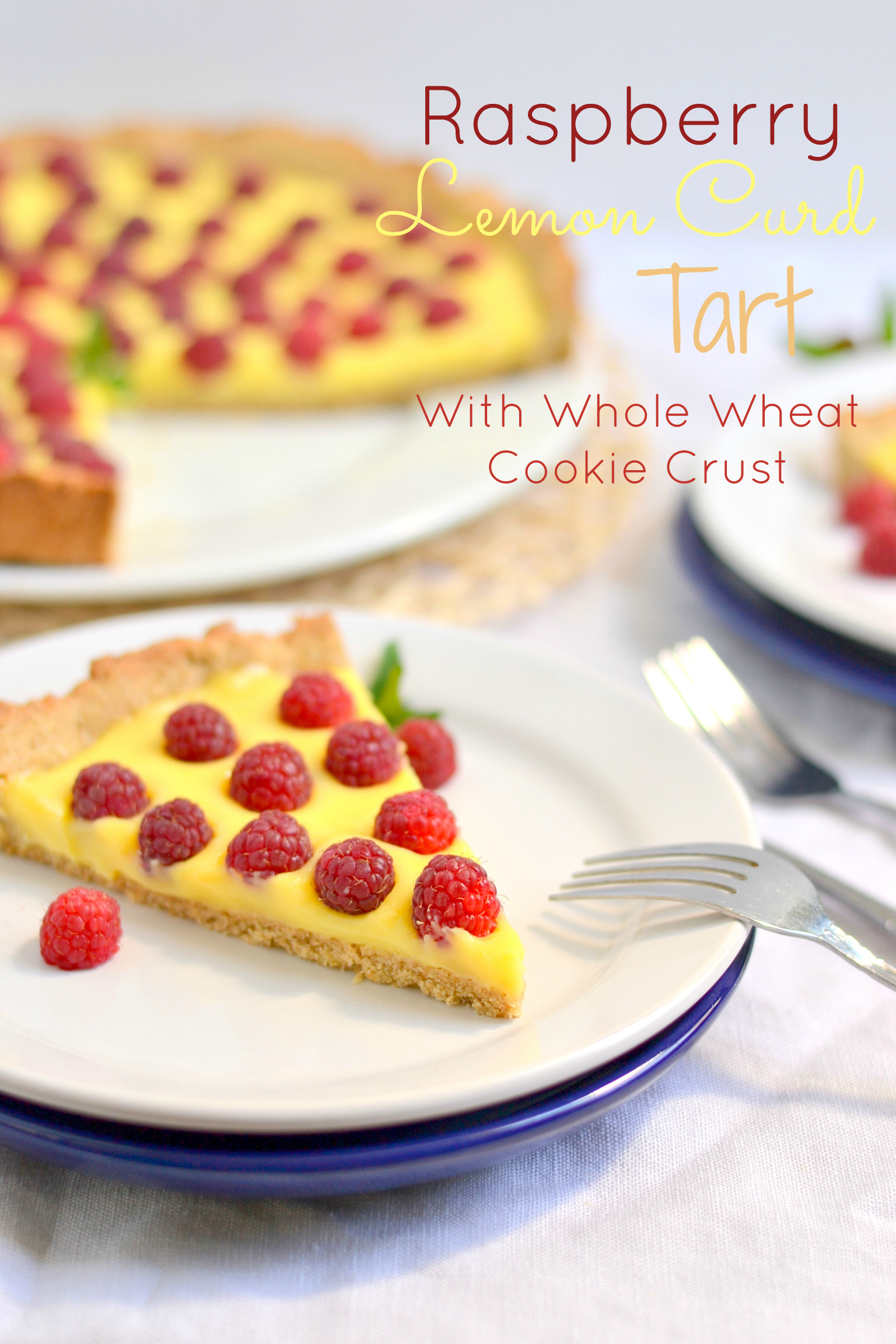 Raspberry Honey Lemon Curd Tart with Whole Wheat Cookie Crust