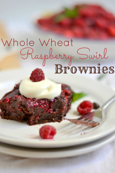 Whole Wheat Raspberry Swirl Brownies