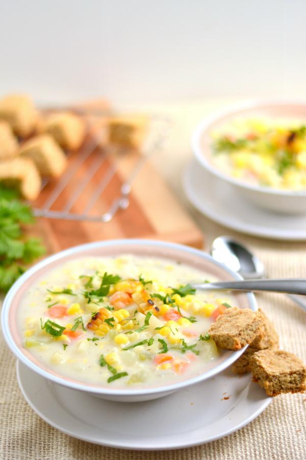 Creamy Vegetarian Roasted Corn Chowder photo