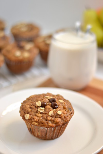 Spelt and Oat Pear Muffins Image