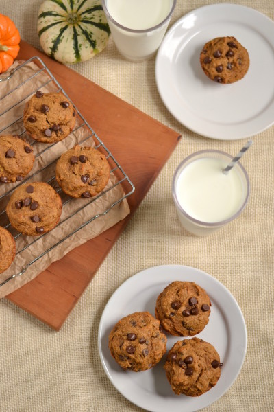 Whole Wheat Chocolate Chip Cream Cheese Surprise Pumpkin Muffins Image