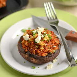 Thumbnail image for Roasted Red Pepper and Feta Quinoa Stuffed Portobellos