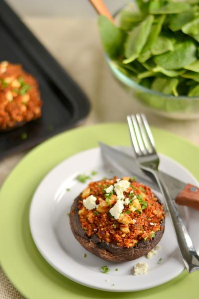 Roasted Red Pepper and Feta Quinoa Stuffed Portobellos Image