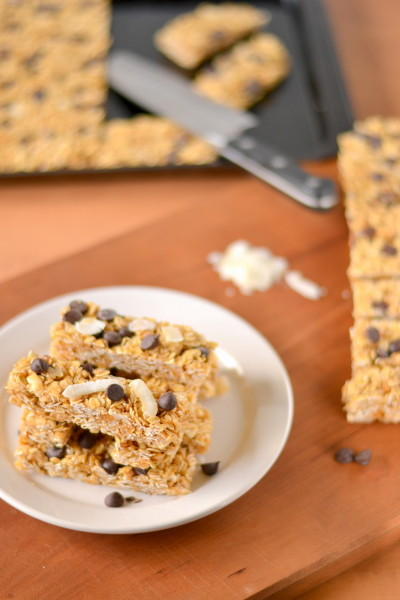 Chewy Dairy Free No Bake Coconut Chocolate Chip Granola Bars Image