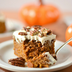 Thumbnail image for Whole Wheat Pumpkin Cake with Greek Yogurt Cream Cheese Frosting