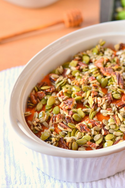 Honey Nut and Seed Sweet Potato Casserole