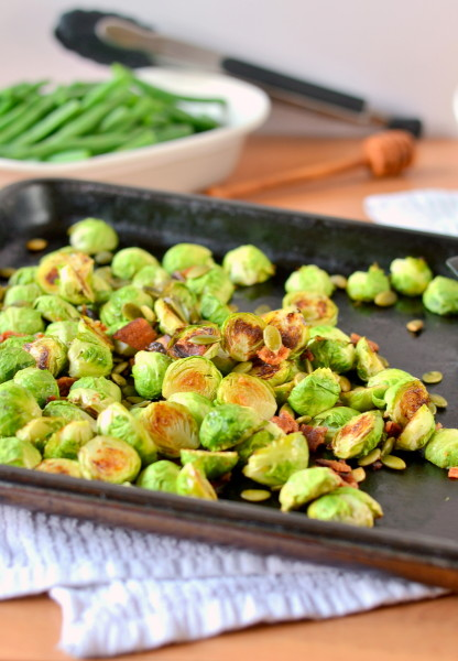 Roasted Brussels Sprouts with Bacon and Pepitas