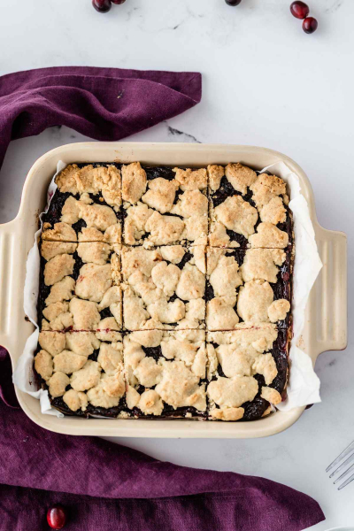 Cranberry Shortbread Bars in 8x8 pan
