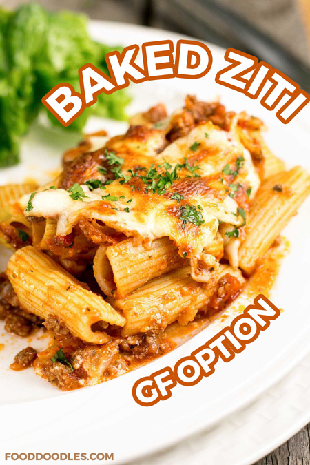 A wonderful baked ziti with sour cream and ground beef. This delicious baked pasta recipe makes enough for a crowd (or feed your family for dinner and leftovers!) and it will quickly become a family favorite!  It can be prepped ahead or even frozen before baking if desired!