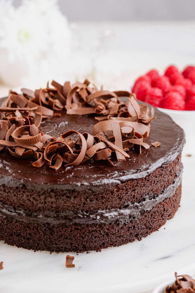 healthy chocolate cake with chocolate curls on top