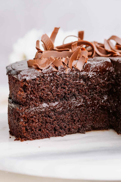 cut into healthy chocolate cake