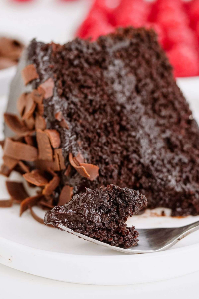 close-up of healthy chocolate cake