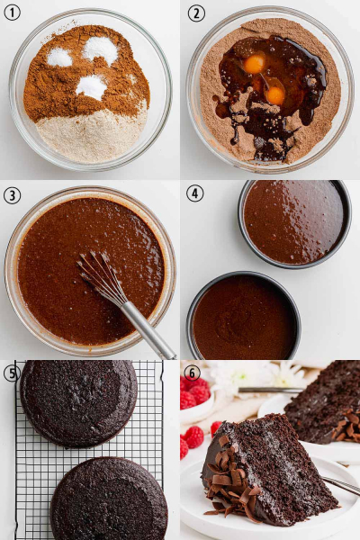 step by step process shots of how to make healthy chocolate cake