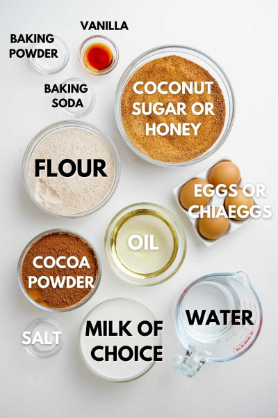ingredients for making healthy chocolate cake