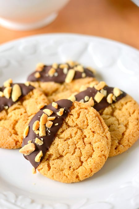 Chocolate Dipped Flourless Peanut Butter Cookies