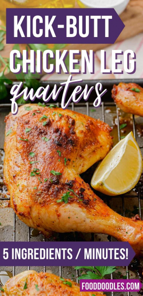 You only need 5 ingredients and 5 minutes to put these chicken leg quarters together. This recipe is ridiculously easy and the result is way more flavorful and delicious than you would imagine. Because this recipe just calls for olive oil, salt, paprika, garlic powder and pepper, these chicken quarters are also naturally paleo, dairy-free and gluten-free.