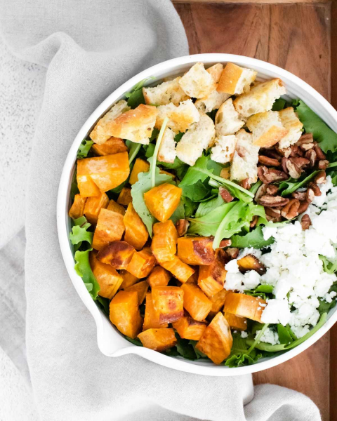 sweet potato goat cheese salad overhead shot