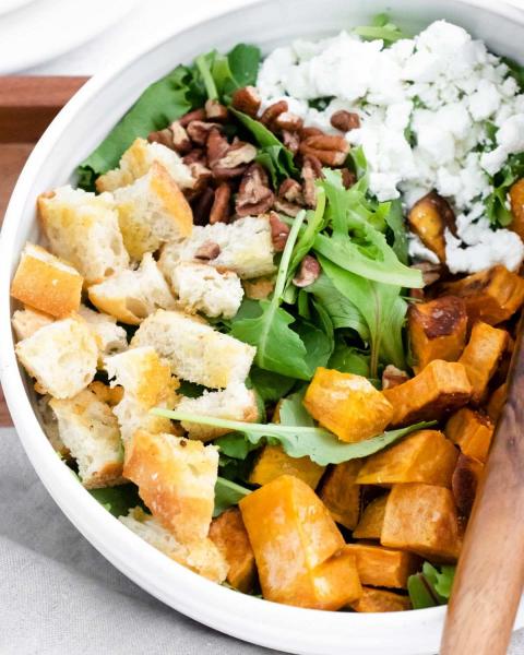 sweet potato goat cheese salad closeup