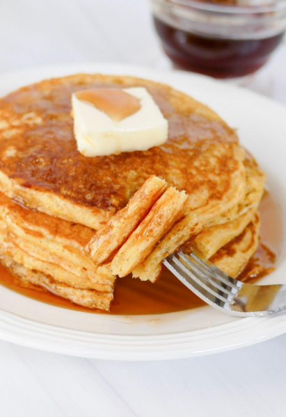Close-up of cornbread pancakes