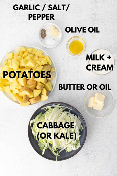 Ingredients for colcannon potatoes