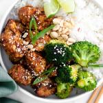 air fryer sesame chicken with broccoli