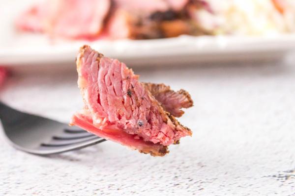 bite of Smoked Corned Beef Brisket on fork