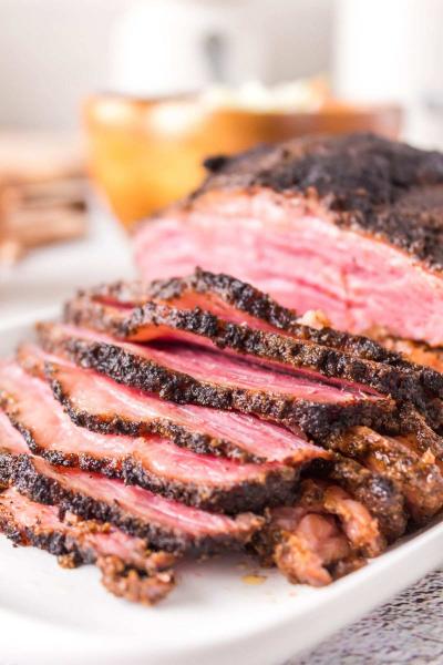 closeup of Smoked Corned Beef Brisket