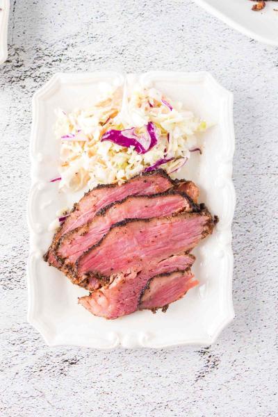 Smoked Corned Beef Brisket with coleslaw