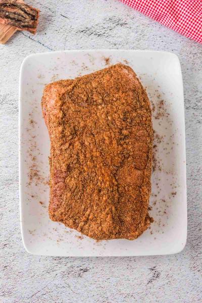 Smoked Corned Beef Brisket coated in seasoning