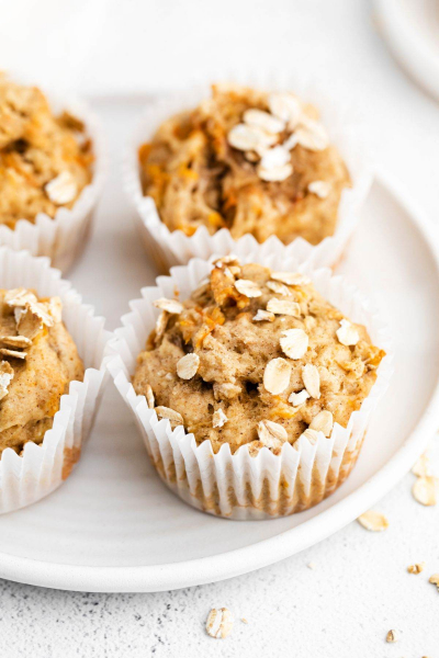 banana carrot muffins on plate