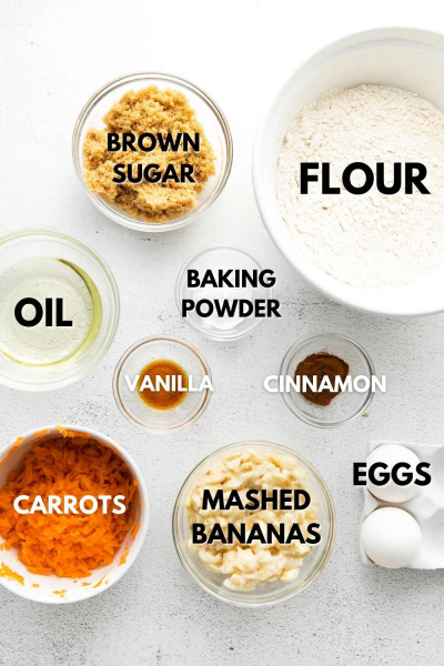ingredients shown for banana carrot muffins