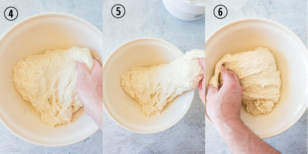 hands stretching over dough